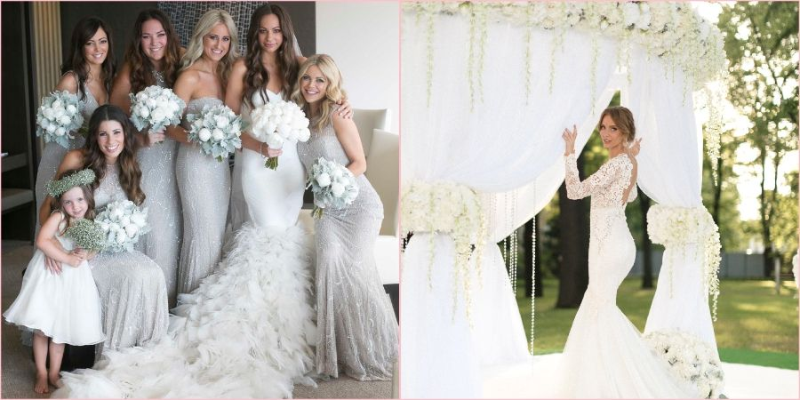 Белый и серебряный наиболее классические оттенки для свадебного торжества