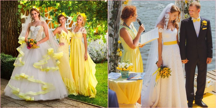 На летнем бракосочетании золотая осина будет смотреться превосходно