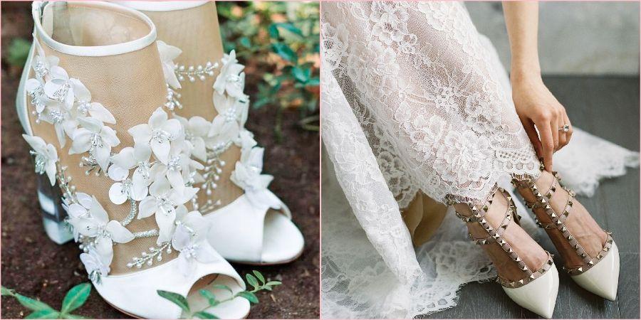 Нарядная пара обуви может быть украшена цветами