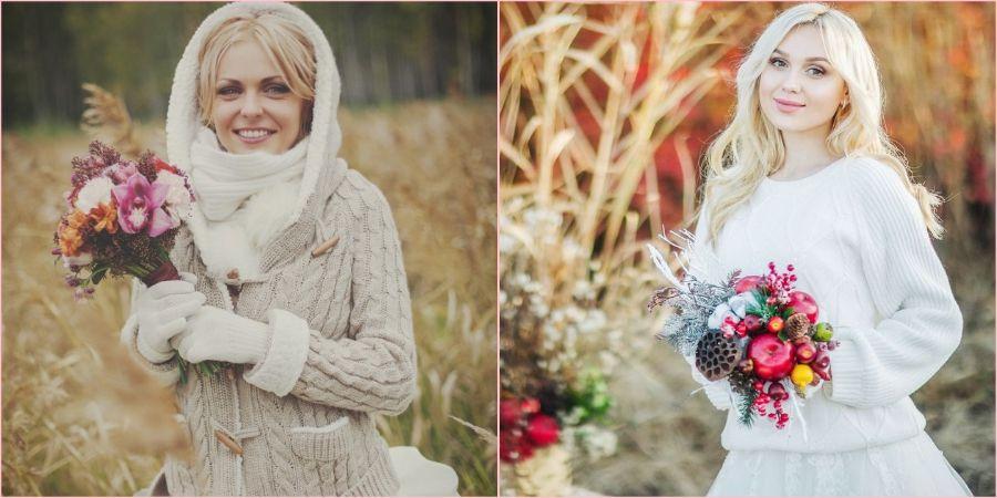 Хорошая идея использовать вязанную кофту в свой свадебный день