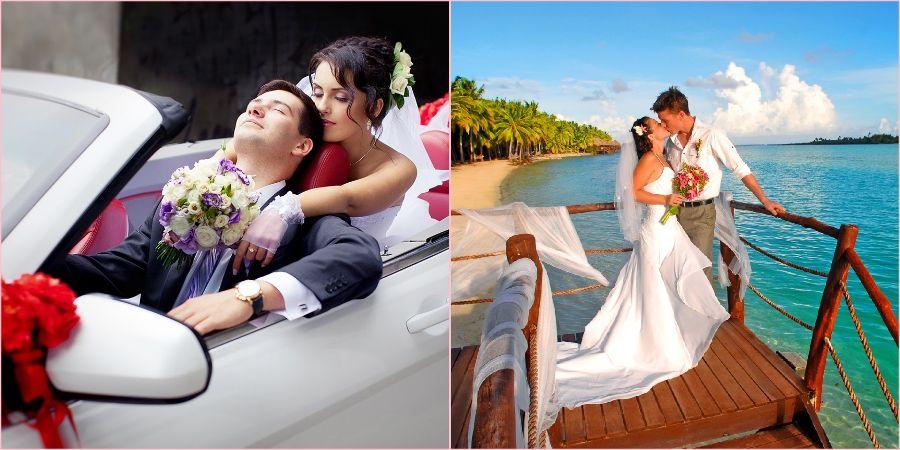 Романтичная прогулка жениха и невесты