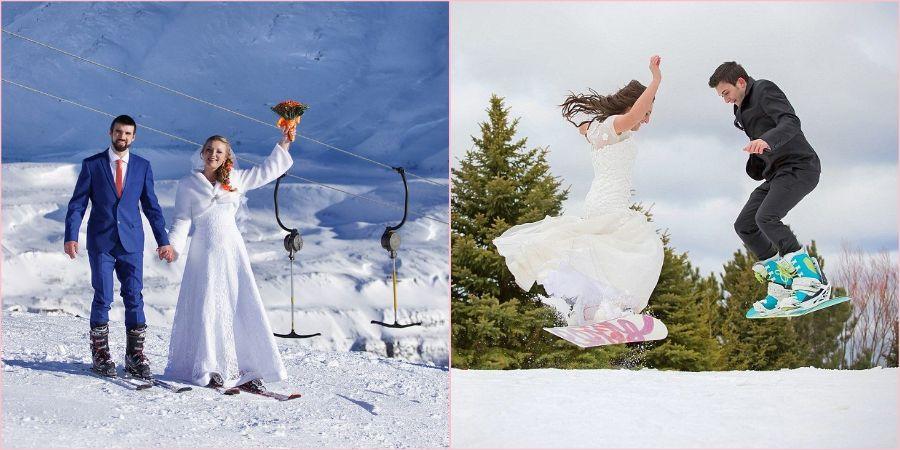 В зимний свадебный денек можно прокатиться на лыжах