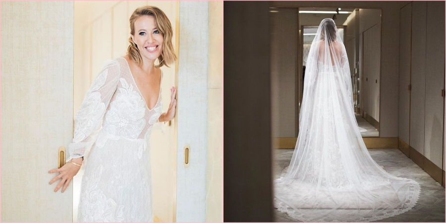 Ксения на свадьбу выбрала платье греческого бренда