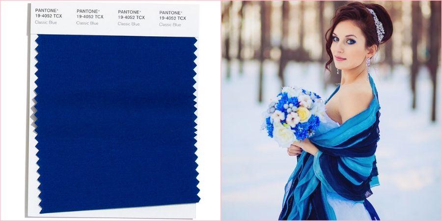 Классический синий подойдет на зимнюю и осеннюю свадьбу