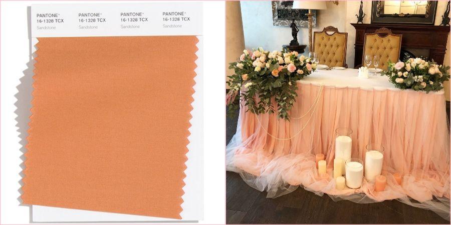 Песочный тон с розовым отливом замечательно впишется в любое свадебное торжество
