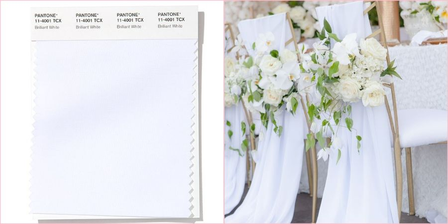 Блестящий белый уместно будет смотреться на любом свадебном торжестве
