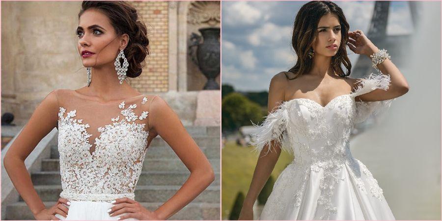 Свадебные платья с декором всегда смотрятся роскошно