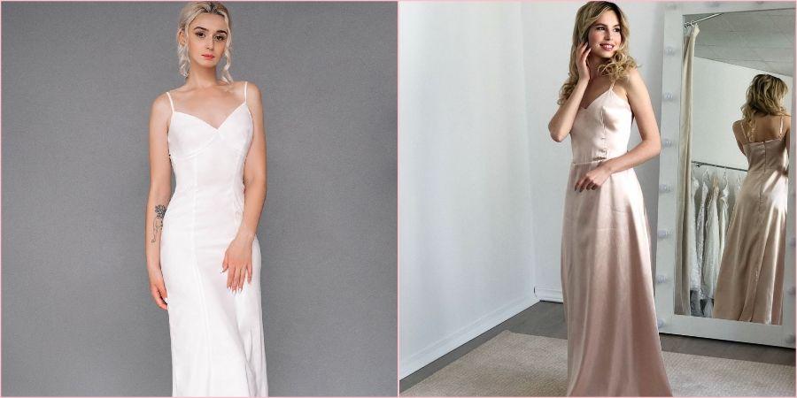 Платья-комбинации подходят для современного образа невесты