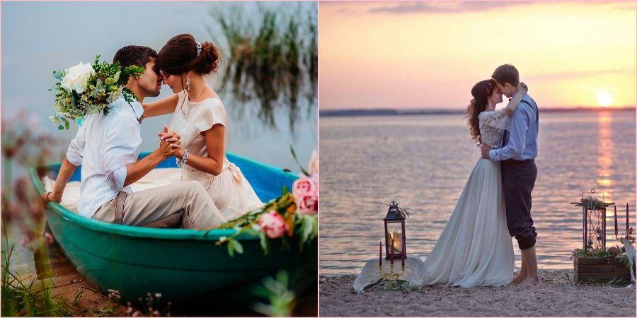 Морская тематика подразумевает летнюю свадьбу на побережье
