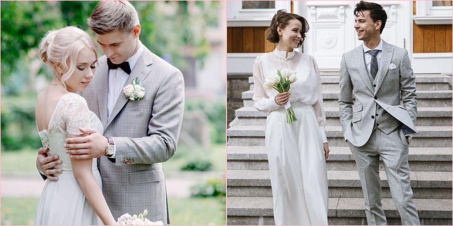 В сером жених и невеста выглядят великолепно