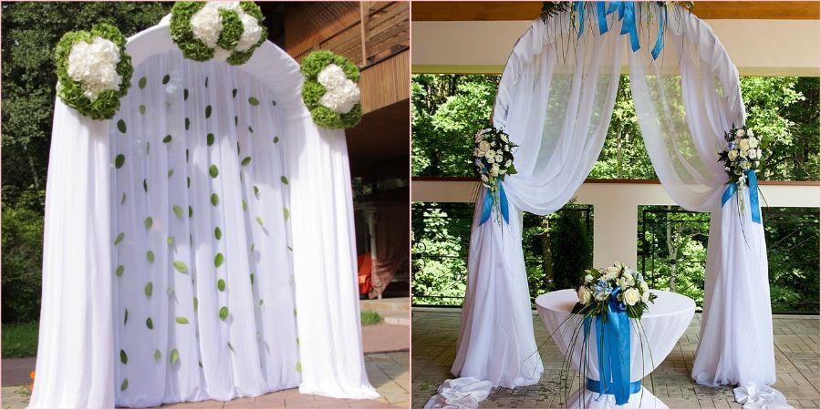 Декорируют арки чаще всего живыми цветами и тканью