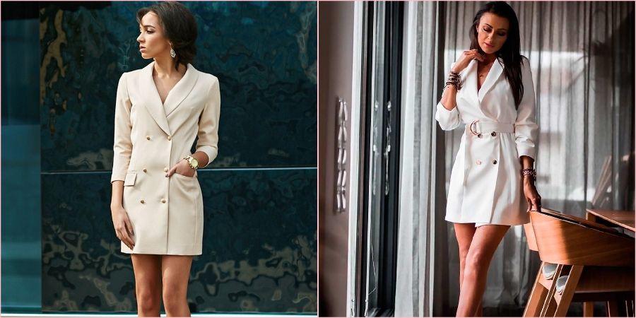 Белоснежные и приталенные платья-пиджаки для ЗАГСа