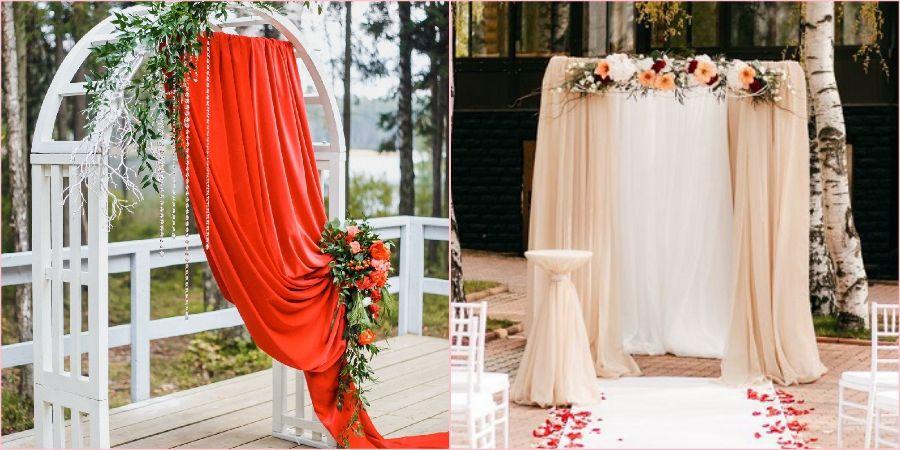 Арки на свадьбу часто украшают красивой тканью