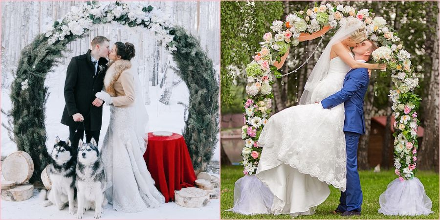 Арки на выездную церемонию украшают в соответствии с временем года