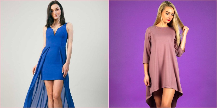 Для прохладной осени подойдет асимметричное платье из плотной ткани