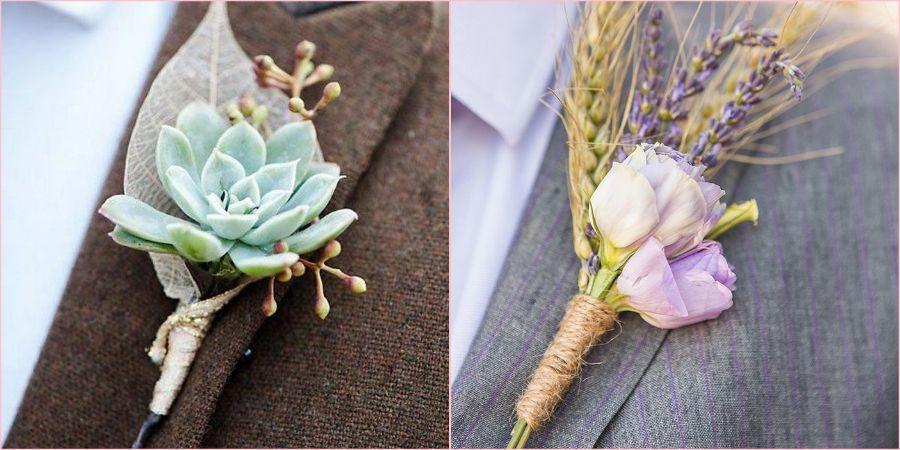Для осенней свадьбы подойдут бутоньерки из сухоцветов