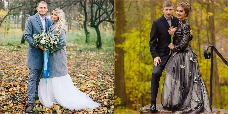Красивые молодые пары осенью