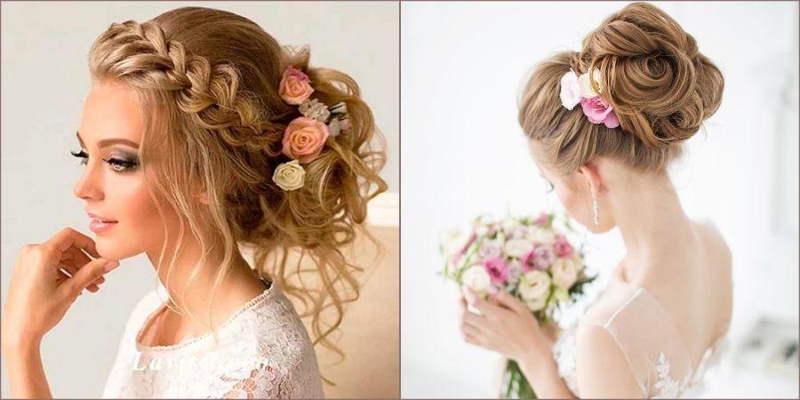 С цветочками эффектно смотрятся плетения и косички