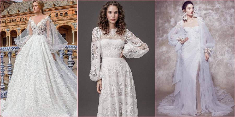 Пышные рукава на свадебных моделях смотрятся эффектно