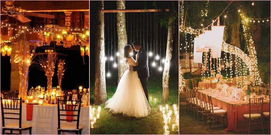 Большое количества света поможет создать на свадьбе сказочную атмосферу