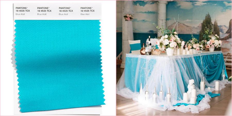 Насыщенный Голубой атолл идеально впишется в весеннюю и летнюю свадьбу на свежем воздухе