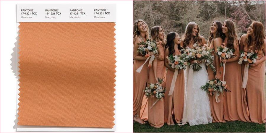 Благородный Макиато можно сочетать при подготовке к свадьбе с другими модными цветами