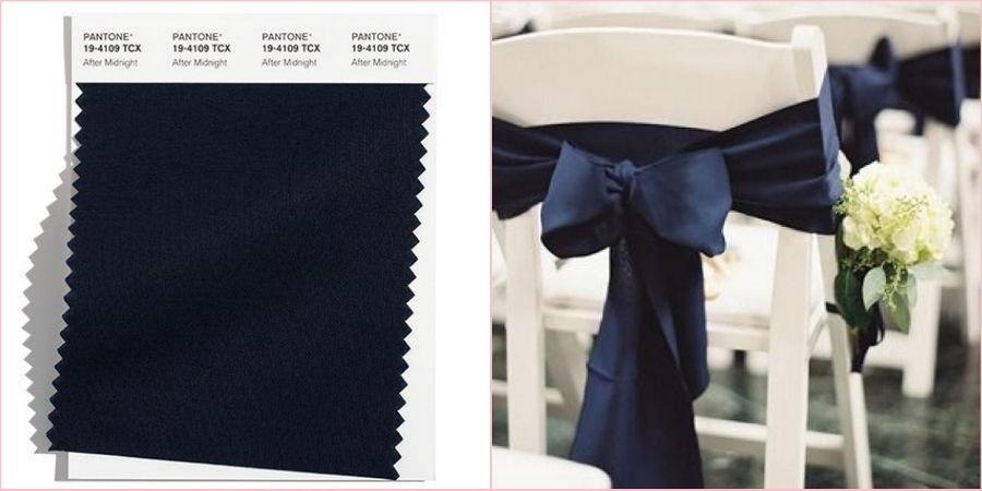 В темно-синем можно сделать контрастные элементы для свадьбы